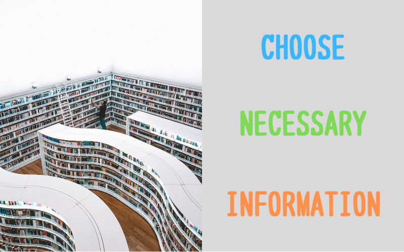 Choose necessary information
